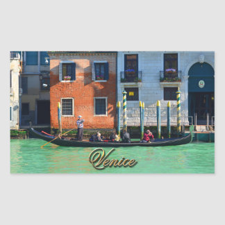 Venetian gondolier rectangular sticker