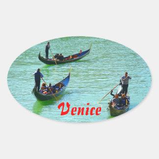 Venetian gondoliers oval stickers