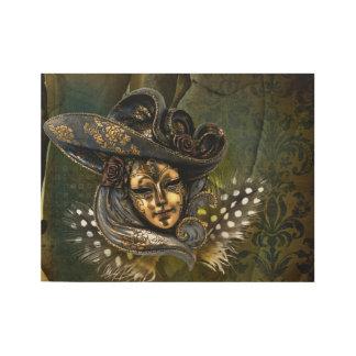 Venetian Mask Fantasy Wood Poster