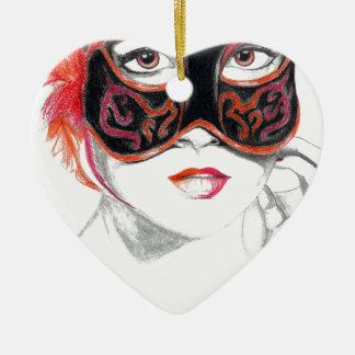 Venetian Mask Girl Ruby Ceramic Heart Decoration
