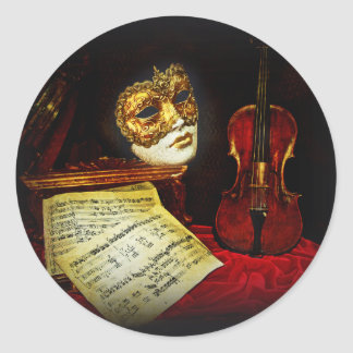 Venetian Masks collection - Musical night Classic Round Sticker