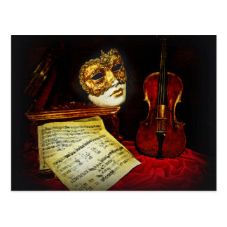 Venetian Masks collection - Musical night Postcard