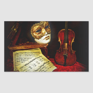Venetian Masks collection - Musical night Rectangular Sticker