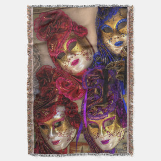 Venetian Masquerade Masks Throw Blanket