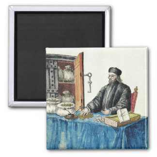 Venetian Moneylender, from an illustrated book Square Magnet