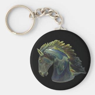 Venetian Murano Glass Horse Basic Round Button Key Ring