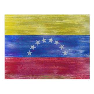 Venezuela distressed flag postcard