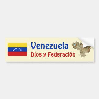 Venezuela Flag and Map Bumper Sticker
