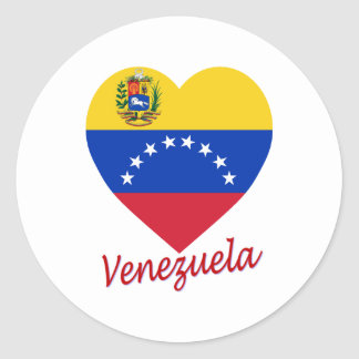 Venezuela Flag Heart Classic Round Sticker