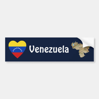 Venezuela Flag Heart + Map Bumper Sticker