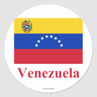 Venezuela Flag with Name Classic Round Sticker