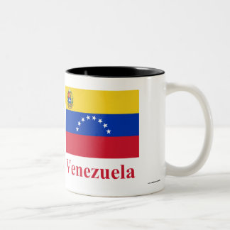 Venezuela Flag with Name Two-Tone Coffee Mug