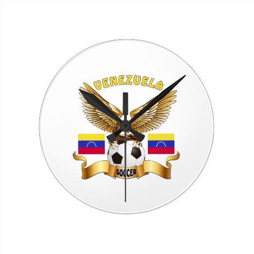 Football Design Wall Clock : Venezuela football designs clocks zazzle
