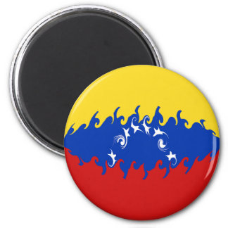 Venezuela Gnarly Flag 6 Cm Round Magnet