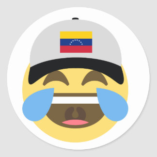 Venezuela Hat Laughing Emoji Classic Round Sticker
