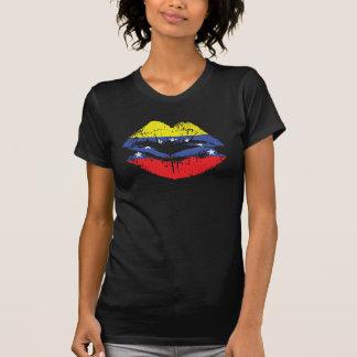 Venezuela lips on black tank top for women.