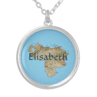 Venezuela Map + Name Necklace