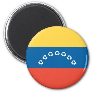 Venezuela recycle flag 6 cm round magnet