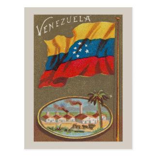 Venezuela vintage with flag postcard