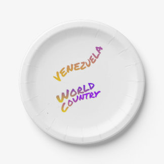 Venezuela world country,  colorful text art 7 inch paper plate
