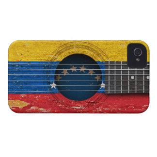 Venezuelan Flag on Old Acoustic Guitar Case-Mate iPhone 4 Cases