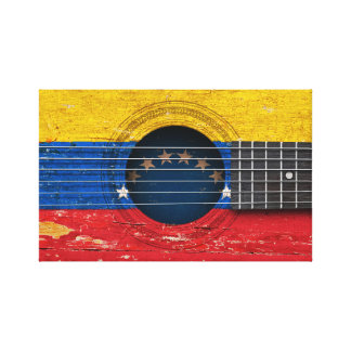 Venezuelan Flag on Old Acoustic Guitar Gallery Wrapped Canvas