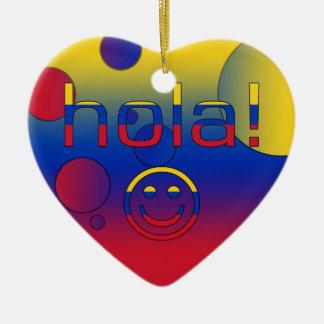 Venezuelan Gifts : Hello / Hola + Smiley Face Christmas Ornament