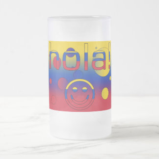 Venezuelan Gifts : Hello / Hola + Smiley Face Frosted Glass Mug