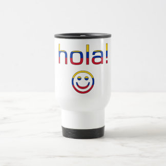 Venezuelan Gifts : Hello / Hola + Smiley Face Stainless Steel Travel Mug