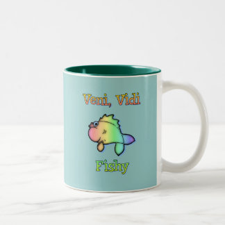 Veni Vidi Fishy Two-Tone Coffee Mug