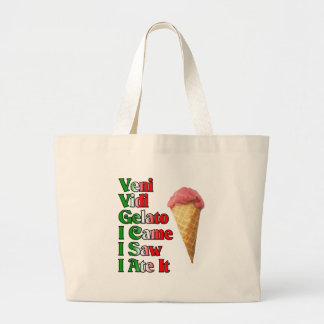 Veni Vini Gelato (I came I saw I ate it) Jumbo Tote Bag