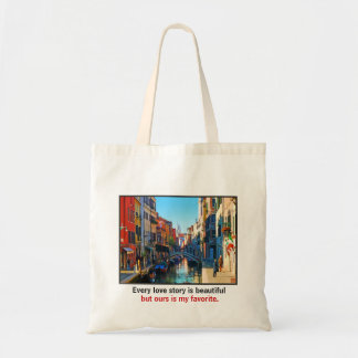 Venice Alley with Love Quote Budget Tote Bag
