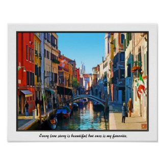 Venice Alley with Love Quote Poster