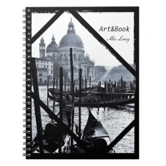Venice, Architecture, Gondolas in BW (Notebook) Notebook