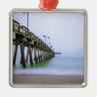 Venice Beach Pier on a Foggy Day Silver-Colored Square Decoration
