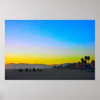 Venice Beach Sunset  Poster