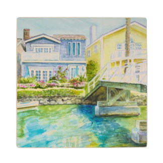 Venice Bridge Wood Coaster