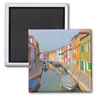 Venice, Burano island canal, small colored houses Magnet