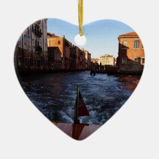 Venice by Boat Ceramic Heart Decoration