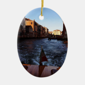 Venice by Boat Ceramic Oval Decoration