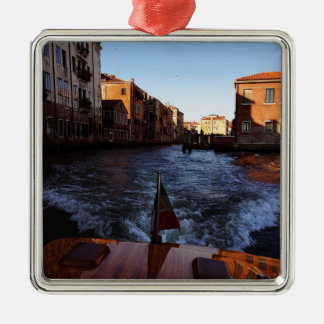 Venice by Boat Silver-Colored Square Decoration