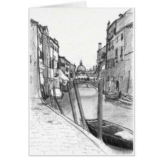Venice canal illustration card