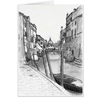 Venice canal illustration card