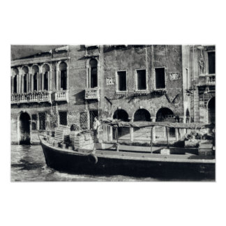 Venice Canal Italy Waterway Boat Black & White Poster