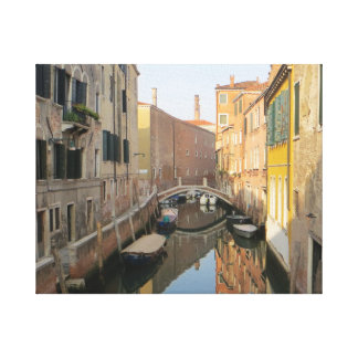 Venice Canal with Boats Stretched Canvas Prints