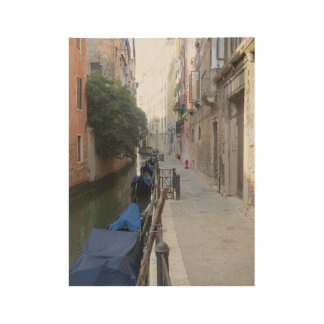 Venice Canal with Covered Gondolas Wood Poster
