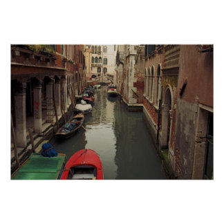 Venice Canal with red boat Poster