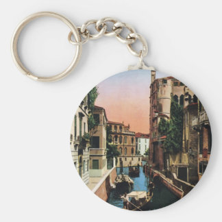 Venice canals, VIntage image Basic Round Button Key Ring