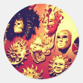 Venice Carnival Masks Round Sticker
