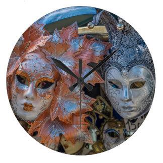Venice Carnival masks wall clock